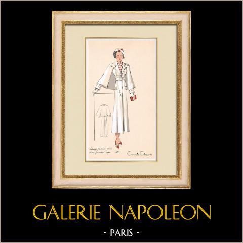 Grabado de Moda - Primavera 1935 - Lainage fantaisie blanc revers formant cape | Original grabado polícromo. Anónimo. Coloreado con pochoir. 1935