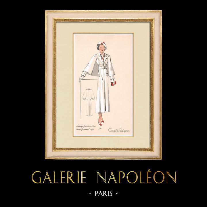 Stampe Antiche & Disegni | Stampa di Moda - Primavera 1935 - Lainage fantaisie blanc revers formant cape | Stampa | 1935