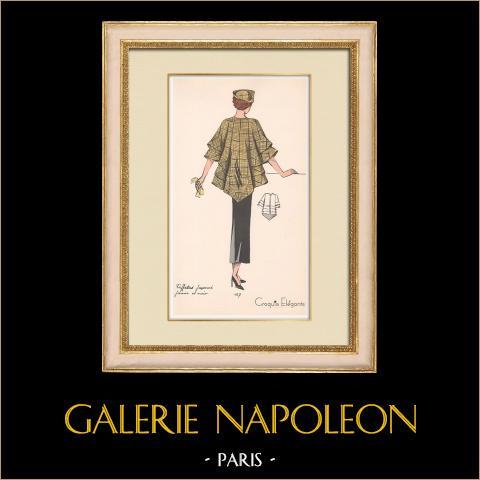 Grabado de Moda - Primavera 1935 - Taffetas façonné jaune et noir | Original grabado polícromo. Anónimo. Coloreado con pochoir. 1935