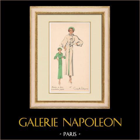 Grabado de Moda - Primavera 1935 - Romain de laine incrustations piquées | Original grabado polícromo. Anónimo. Coloreado con pochoir. 1935