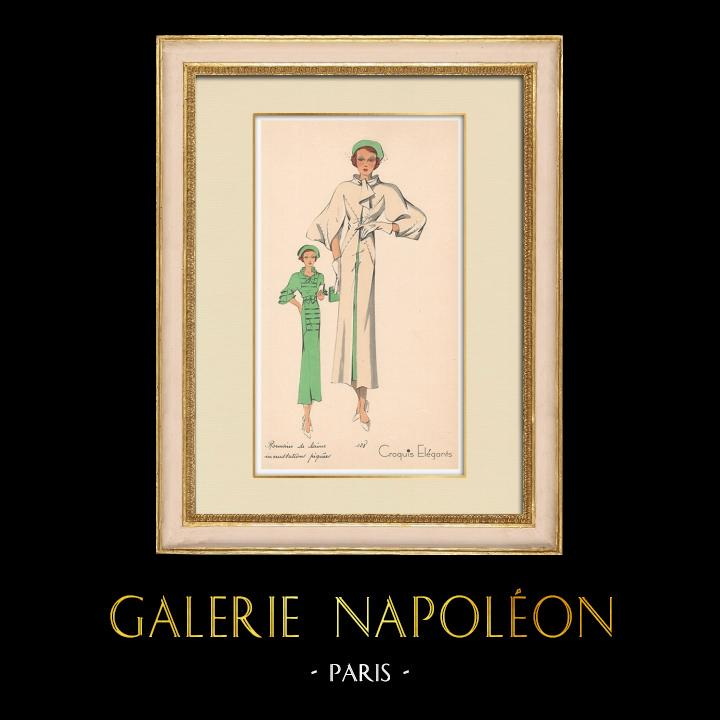 Gravures Anciennes & Dessins | Gravure de Mode - Printemps 1935 - Romain de laine incrustations piquées | Impression | 1935