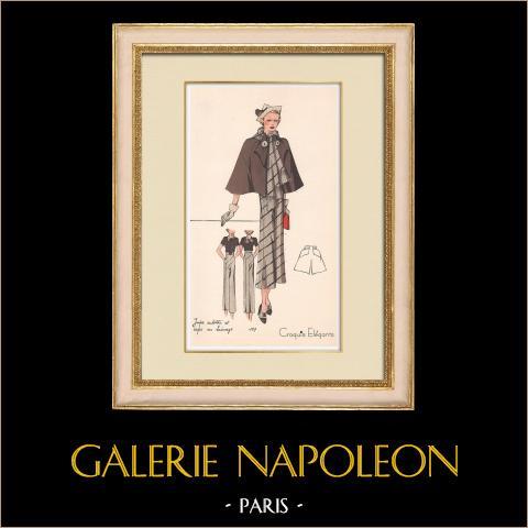 Grabado de Moda - Primavera 1935 - Jupe culotte et cape en lainage | Original grabado polícromo. Anónimo. Coloreado con pochoir. 1935