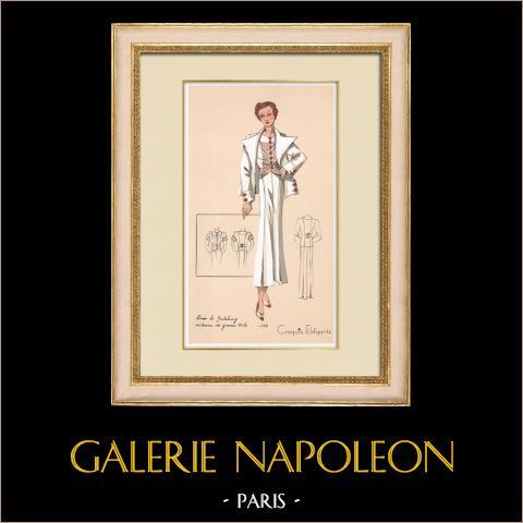Grabado de Moda - Primavera 1935 - Pour le yatching costume de grosse toile | Original grabado polícromo. Anónimo. Coloreado con pochoir. 1935