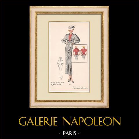 Grabado de Moda - Primavera 1935 - Lainage pied de poule et jersey rouille | Original grabado polícromo. Anónimo. Coloreado con pochoir. 1935