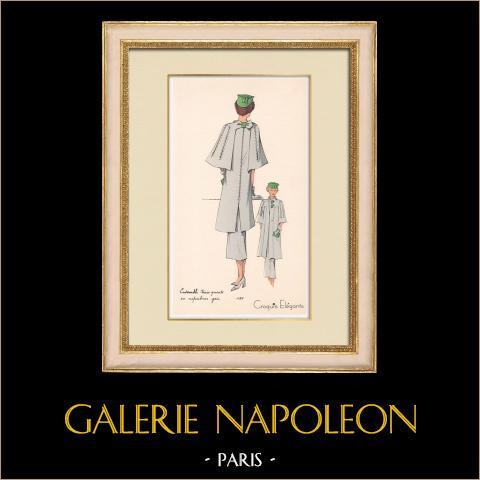 Grabado de Moda - Primavera 1935 - Ensemble trois quarts en crepalvac gris | Original grabado polícromo. Anónimo. Coloreado con pochoir. 1935