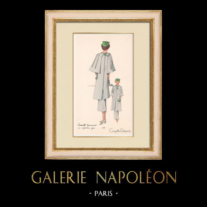 Antique Prints & Drawings | Fashion Plate - Spring 1935 - Ensemble trois quarts en crepalvac gris | Print | 1935