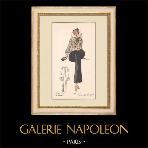 Grabado de Moda - Primavera 1935 - Faille unie et ecossais | Original grabado polícromo. Anónimo. Coloreado con pochoir. 1935