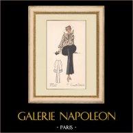 Stampa di Moda - Primavera 1935 - Faille unie et ecossais | Stampa policroma originale. Anonima. Colorata a pochoir. 1935