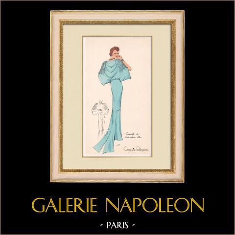 Grabado de Moda - Primavera 1935 - Ensemble de caraména bleu | Original grabado polícromo. Anónimo. Coloreado con pochoir. 1935