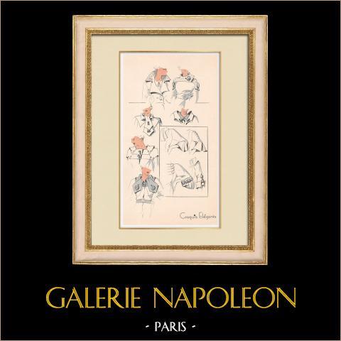 Grabado de Moda - Primavera 1935 - Manteau | Original grabado polícromo. Anónimo. Coloreado con pochoir. 1935