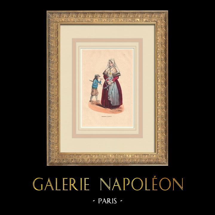 Stampe Antiche & Disegni | Costumi tipici della Bretagna (Francia) | Incisione xilografica | 1844