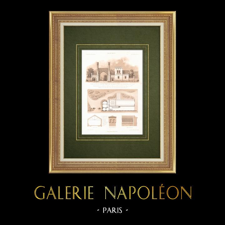 Grabados & Dibujos Antiguos   Parque con casa de Jardinero e Invernadero en Naklo (Polonia)   Litografía   1865