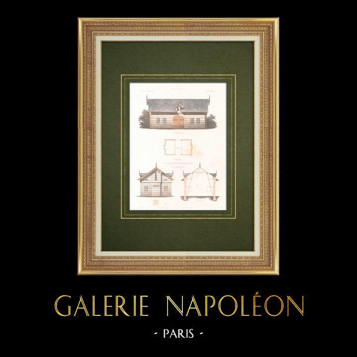 Gravures Anciennes & Dessins | Grange dans le Parc Royal de Babelsberg (Allemagne) | Lithographie | 1865