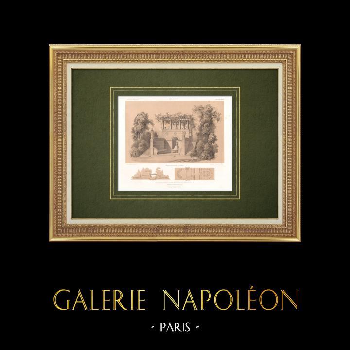Gravures Anciennes & Dessins | Vue d'un pont dans un parc | Lithographie | 1865