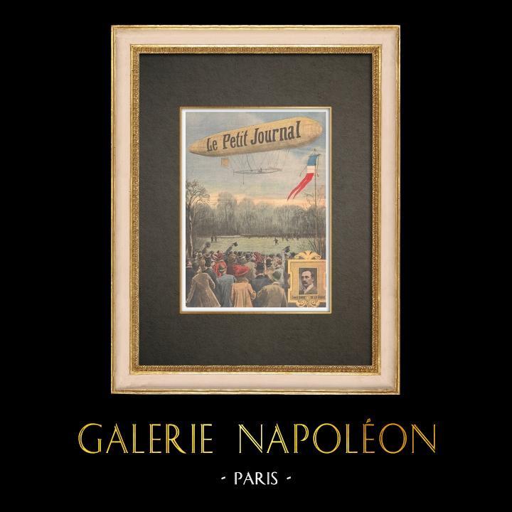 Stampe Antiche & Disegni | Un dirigibile atterra sul prato di Bagatelle a Parigi - Francia - 1909 | Incisione xilografica | 1909