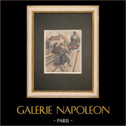 Strażnik Zabity Pociągiem na Przejeździe Kolejowym Saint-Fons - Francja - 1909 |