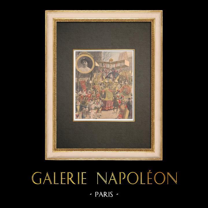 Stampe Antiche & Disegni | Mi-Carême - Biga della Regina delle Regine di Parigi 1909 | Incisione xilografica | 1909