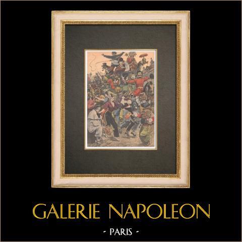 Carnaval de París - Descente de la Courtille en Belleville - París - 1909 | Grabado xilográfico original impreso en cromotipografia. Anónimo. Reverso impreso. 1909