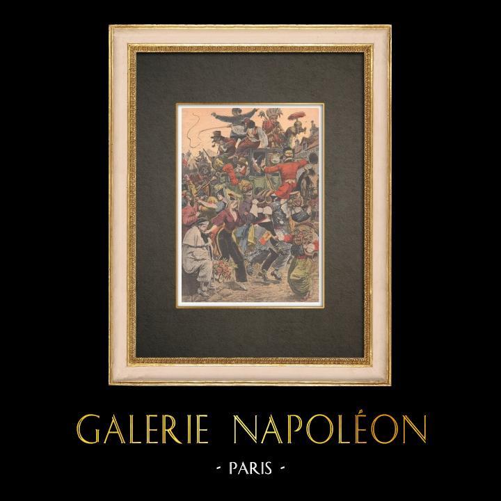 Antika Tryck & Ritningar | Carnival of Paris - Descente de la Courtille i Belleville - Paris - 1909 | Träsnitt | 1909