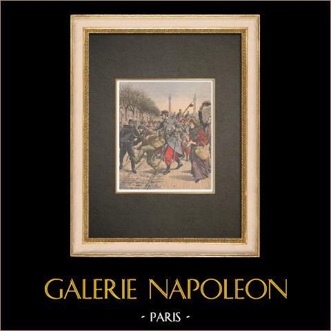 Antimilitarismus - Militärparade Cours de Vincennes - Frankreich - 1909 | Original holzstich in chromotypographie. Anonym. Text auf der rückseite. 1909