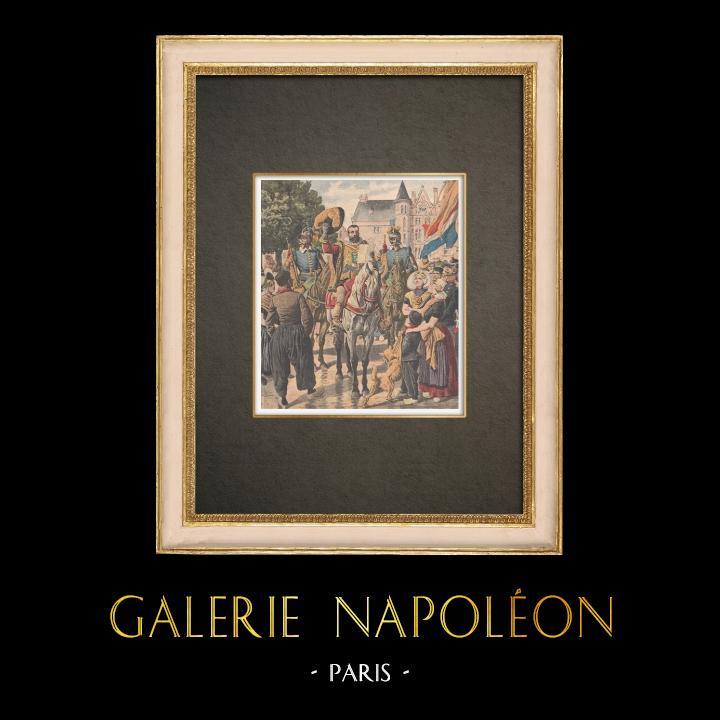 Gravures Anciennes & Dessins | Annonce traditionnelle de la naissance d'une princesse en Hollande - 1909 | Gravure sur bois | 1909