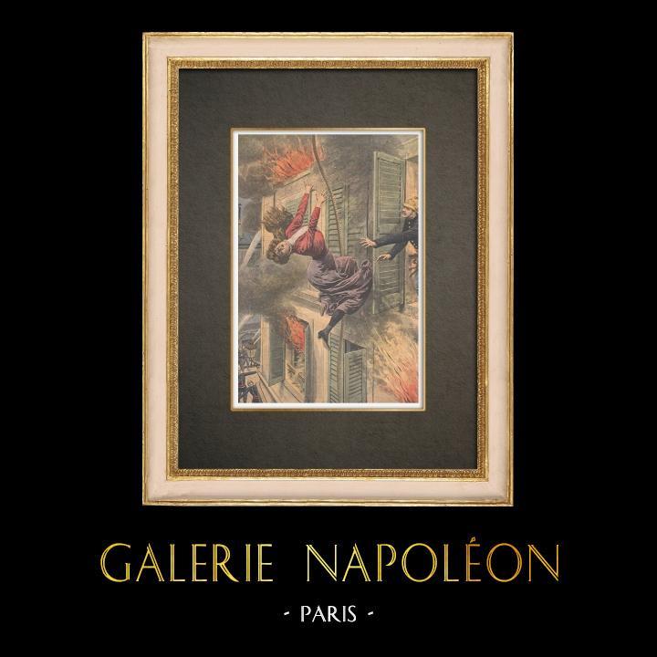 Stampe Antiche & Disegni | Una donna si lancia da una finestra per fuggire dal fuoco a Marsiglia - 1909 | Incisione xilografica | 1909