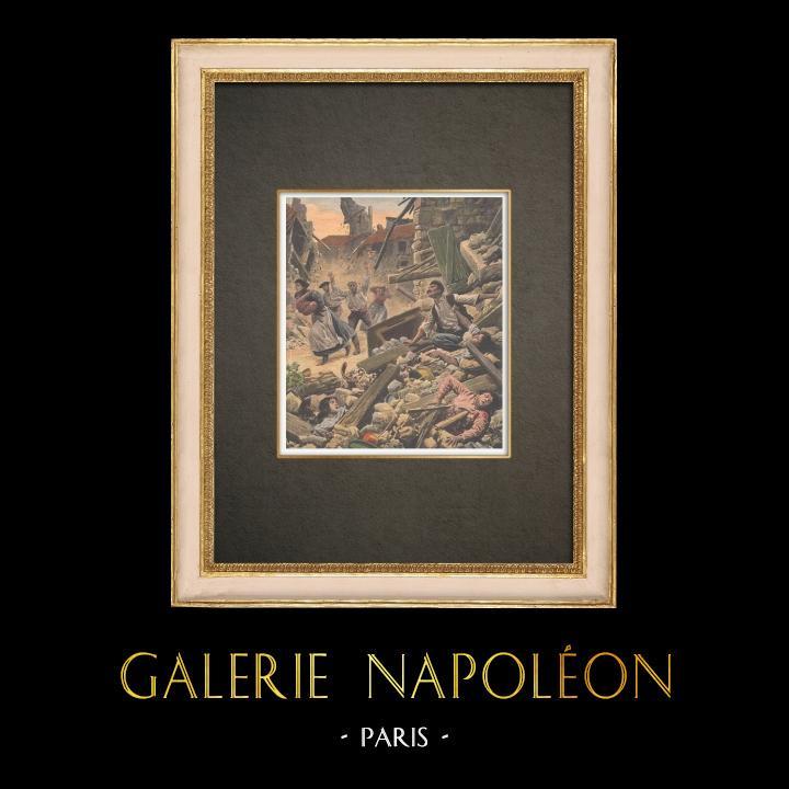 Stampe Antiche & Disegni | Terremoto nel sud della Francia - 1909 | Incisione xilografica | 1909