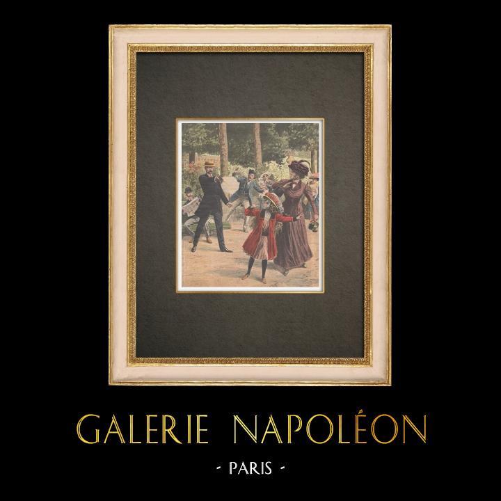 Stampe Antiche & Disegni | Un pazzo spara a una ragazza nel Jardin du Luxembourg a Parigi - Francia - 1909 | Incisione xilografica | 1909