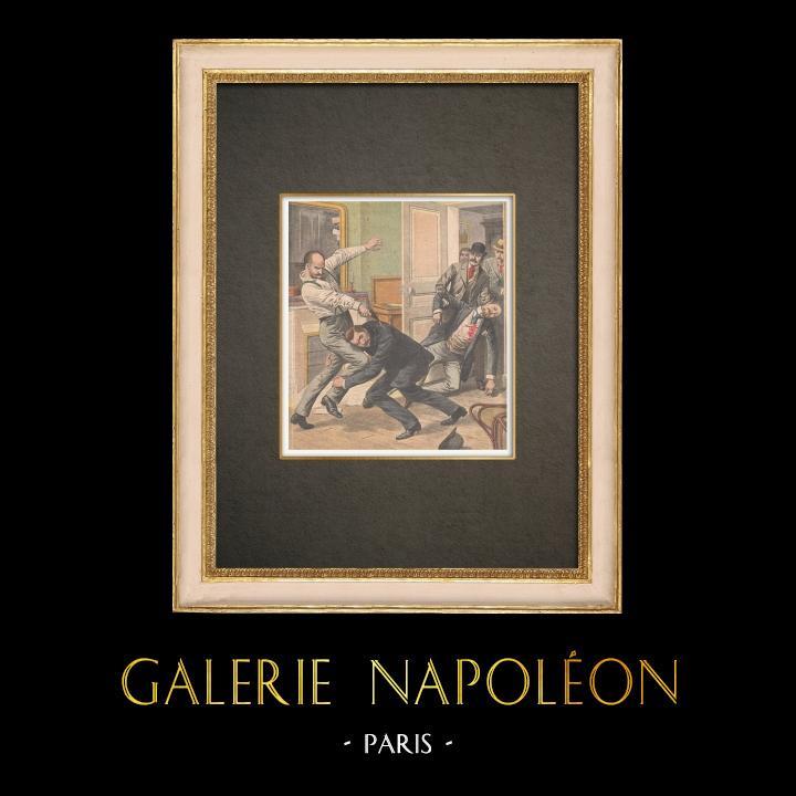 Antique Prints & Drawings | Two police officers killed by a criminal on rue de la Folie-Méricourt in Paris - France - 1909 | Wood engraving | 1909