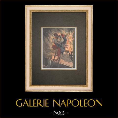 żołnierz Ratuje Dwoje Dzieci w Płomieniach Ognia w Paryżu - Francja - 1909 r |