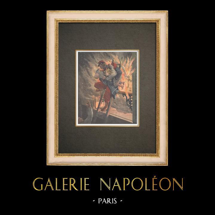 Stampe Antiche & Disegni | Un soldato salva due bambini in fiamme di un fuoco a Parigi - Francia - 1909 | Incisione xilografica | 1909