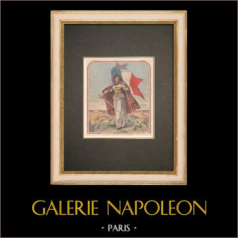 La bandera francesa, símbolo del patriotismo - Francia | Grabado xilográfico original impreso en cromotipografia. Anónimo. Reverso impreso. 1909