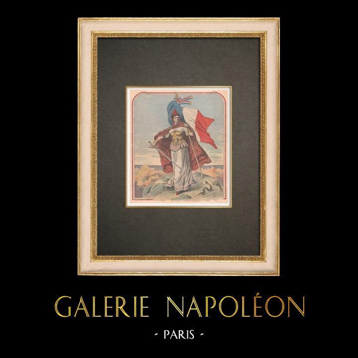 Stampe Antiche & Disegni | La bandiera francese, simbolo del patriottismo - Francia | Incisione xilografica | 1909