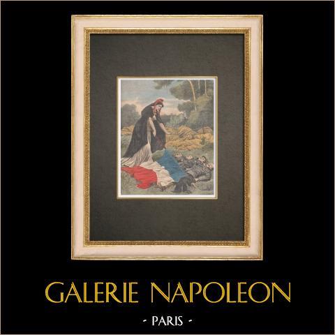 O dirigível République cai em Trévol - França - 1909 | Xilogravura original impressa em cromotipografia. Anónima. Reverso impresso. 1909
