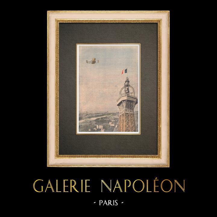 Stampe Antiche & Disegni   Volo di un aereo sopra Parigi - Francia - 1909   Incisione xilografica   1909