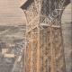 DETTAGLI 06   Volo di un aereo sopra Parigi - Francia - 1909