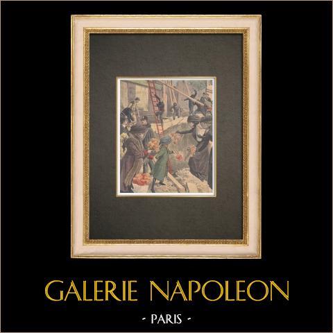 Kobieta Pochowana Podczas Zawalenia Się Drogi w Paryżu - Francja - 1909 r |