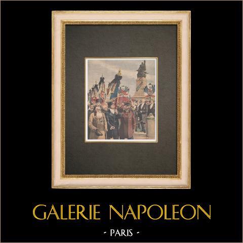 Veteranen van de Oorlog van 1870 Voor de Verdediging van Parijs in Courbevoie - Frankrijk - 1909 |