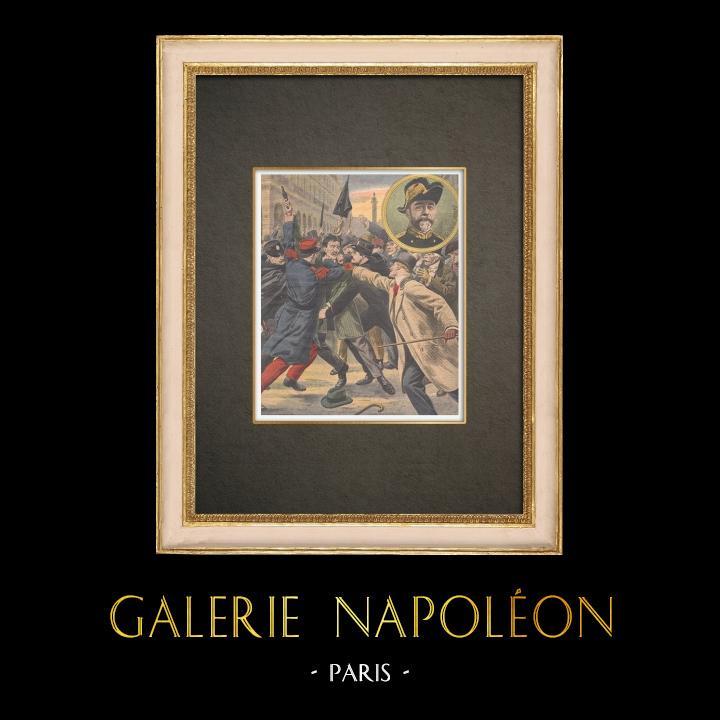 Stampe Antiche & Disegni | Arresto dell'assassino del generale Verand a Parigi - Francia - 1909 | Incisione xilografica | 1909