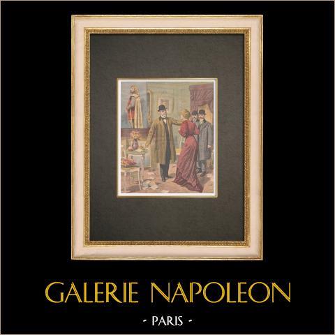 Gripande av operasångarens mördare - Paris - 1910 | Original träsnitt tryckt i kromotypografi. Anonym. Text på baksidan. 1910