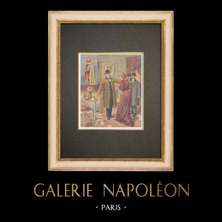 Stampe Antiche & Disegni | Arresto dell'assassina del cantante di Opera - Parigi - 1910 | Incisione xilografica | 1910