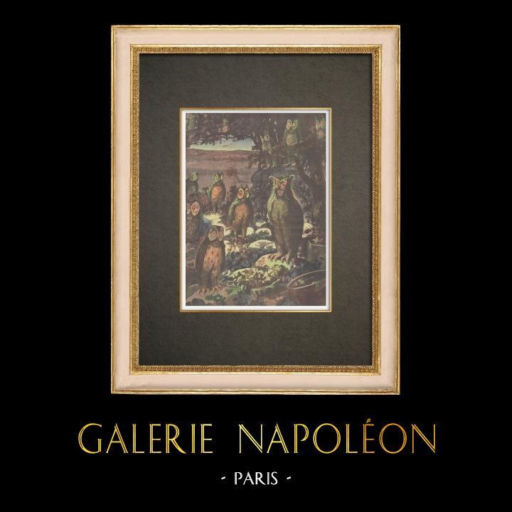 Stampe Antiche & Disegni | Chantecler - Edmond Rostand - Uccelli da notte - Parigi - 1910 | Incisione xilografica | 1910