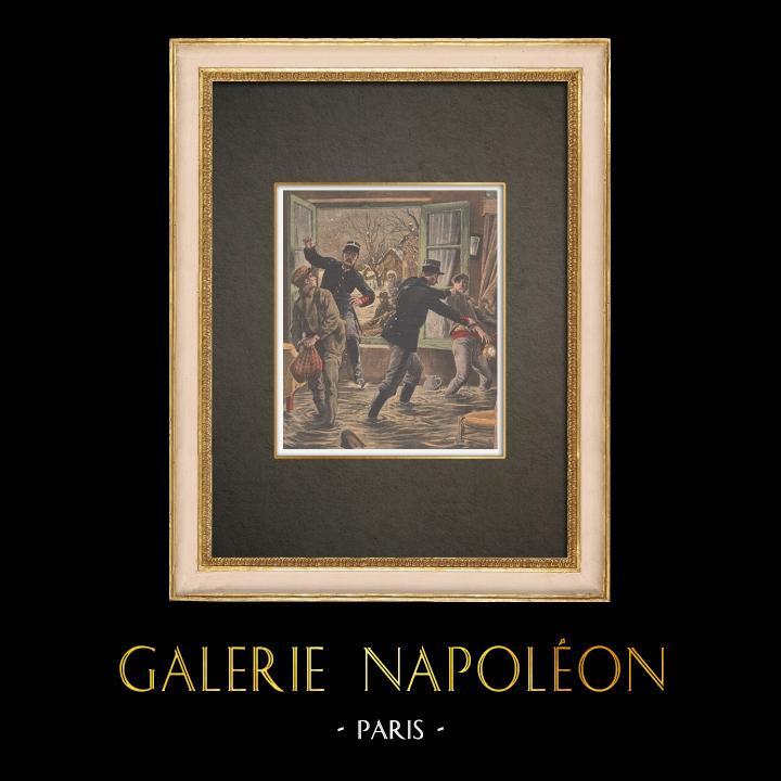 Stampe Antiche & Disegni   Inondazioni di Parigi - I ladri saccheggiano case abbandonate - 1910   Incisione xilografica   1910