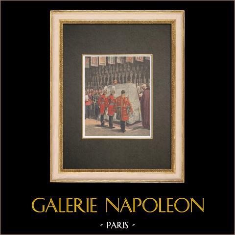 Funeral del Rey Eduardo VII en la Capilla de San Jorge en Windsor - Inglaterra - 1910 | Grabado xilográfico original impreso en cromotipografia. Anónimo. Reverso impreso. 1910