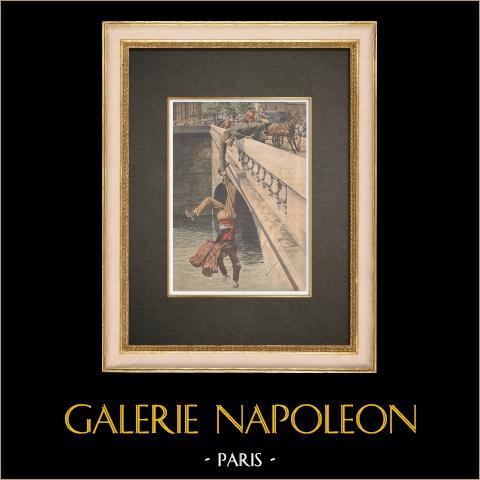 Salvamento na Pont au Change em Paris - França - 1910 | Xilogravura original impressa em cromotipografia. Anónima. Reverso impresso. 1910