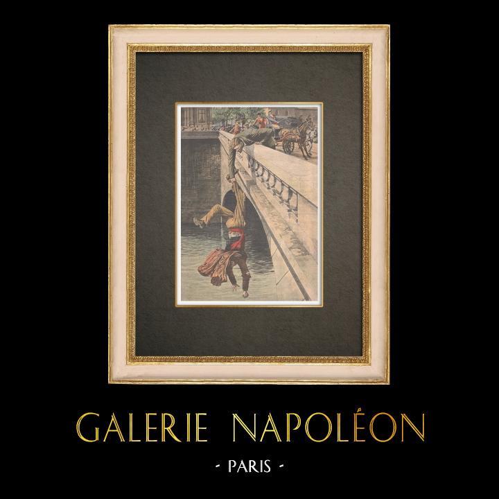 Stampe Antiche & Disegni | Salvataggio sul Pont au Change a Parigi - Francia - 1910 | Incisione xilografica | 1910