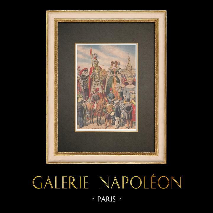 Antika Tryck & Ritningar | Kortege av Giganter i Valenciennes - Frankrike - 1910 | Träsnitt | 1910