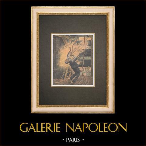 Piorun Spadł na Kościół Ladepeyre'a - Francja - 1910 |