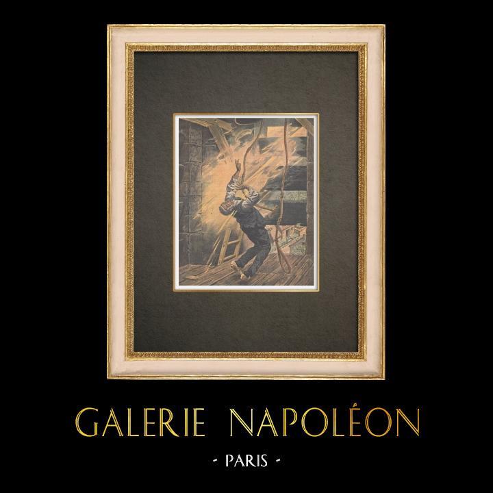 Stampe Antiche & Disegni   Il fulmine caduto sulla chiesa di Ladepeyre - Francia - 1910   Incisione xilografica   1910