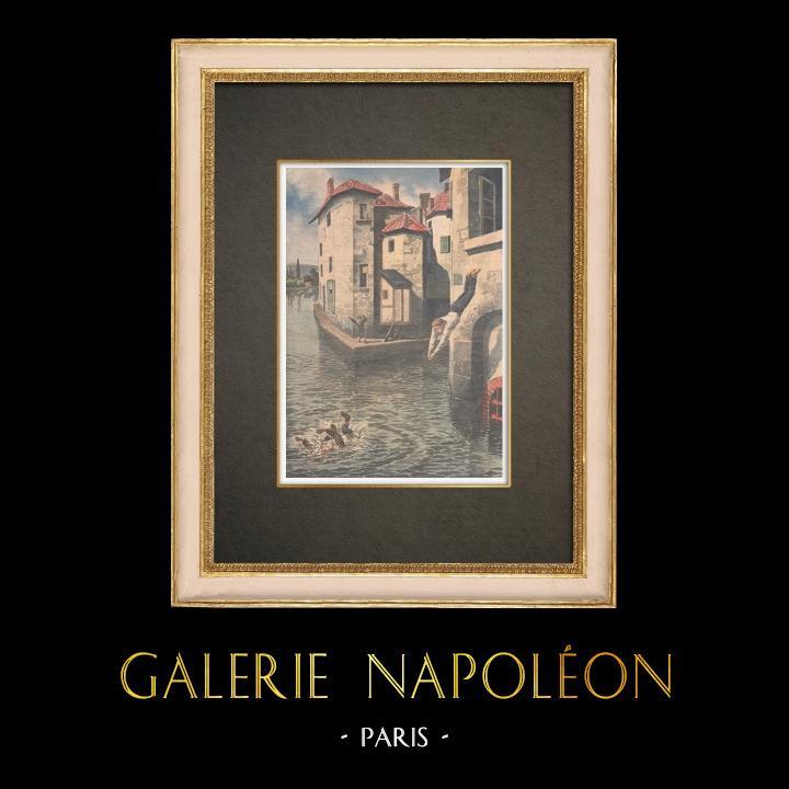 Stampe Antiche & Disegni | Un bambino salva un altro bambino dall'annegamento nel canale di Givors - Francia - 1910 | Incisione xilografica | 1910